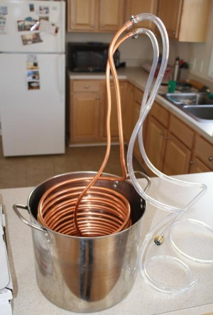 Immersion chiller in 5-gallon pot