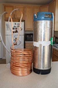 wort chiller and 5-gal keg